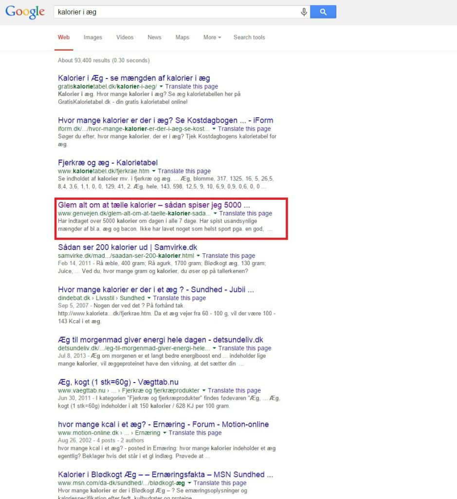 Google søgning, kalorier i æg