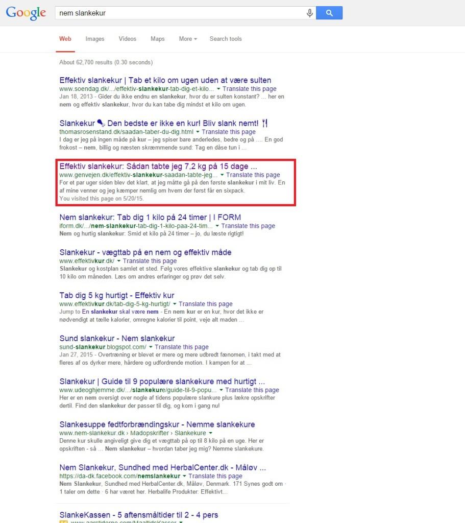 Google søgning, nem slankekur