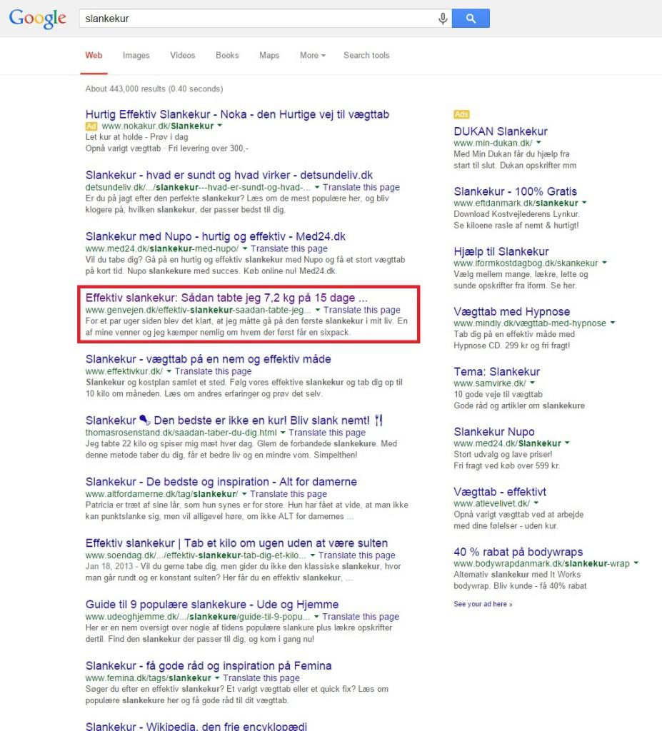 Google søgning, slankekur