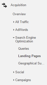 Google Analytics, Landing pages