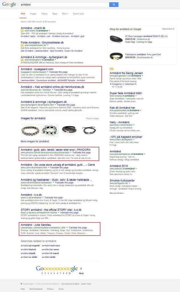 Google søgning, armbånd