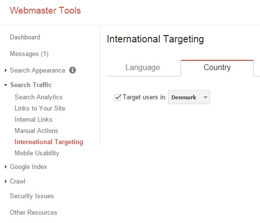 Google Webmaster Tools, Danmark