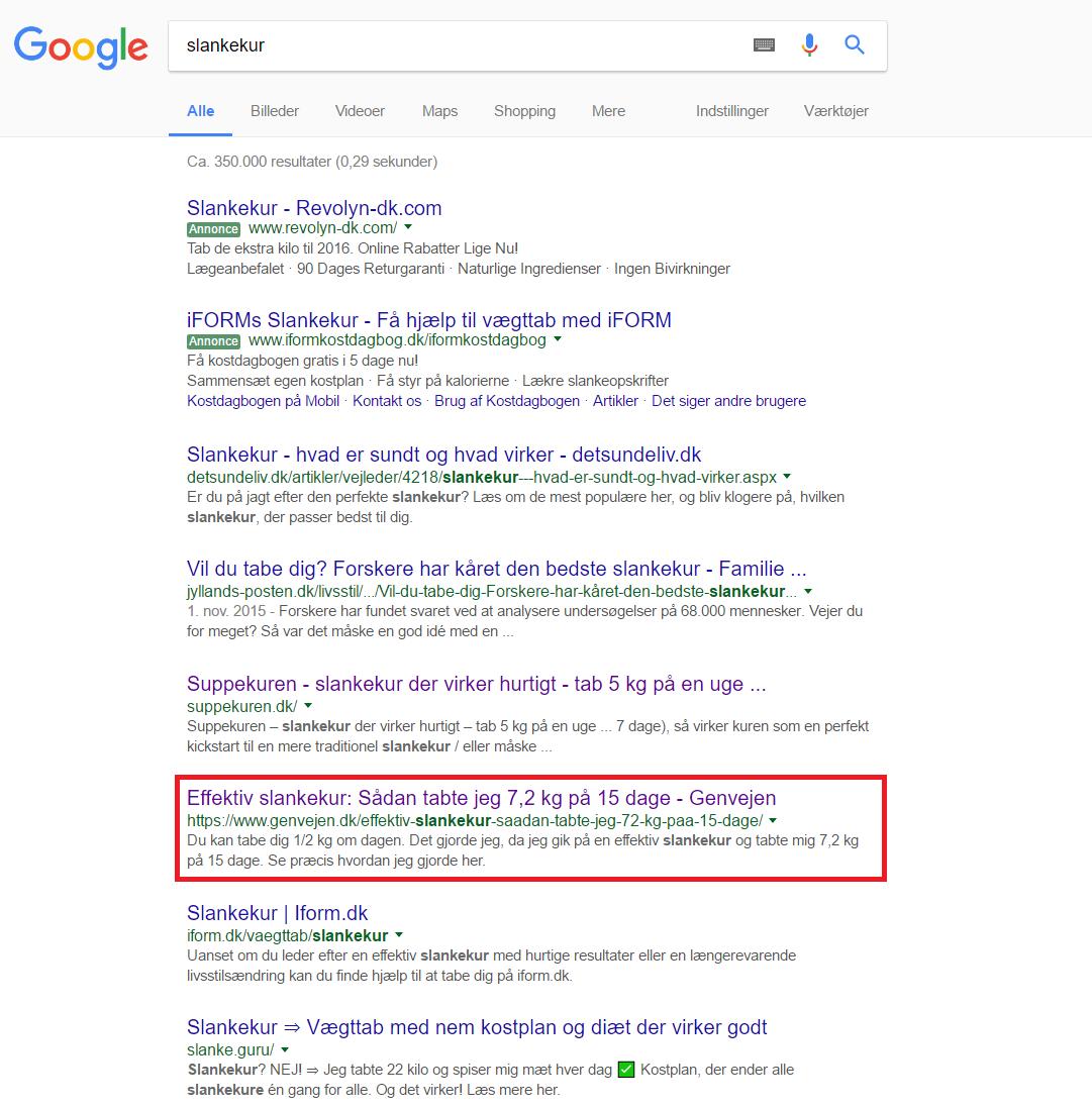 Google søgning efter slankekur