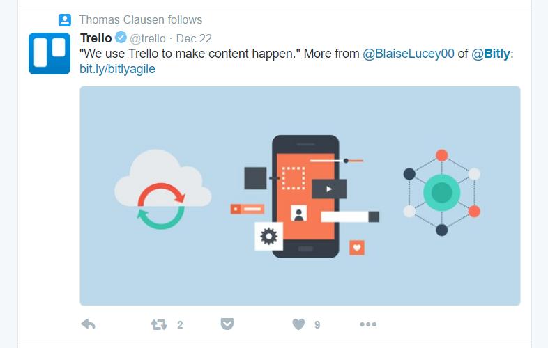 Trello på Twitter med Bitly link