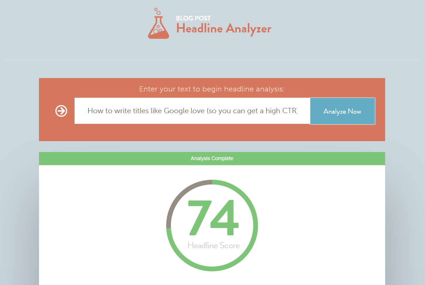 CoSchedule Headline Analyzer score