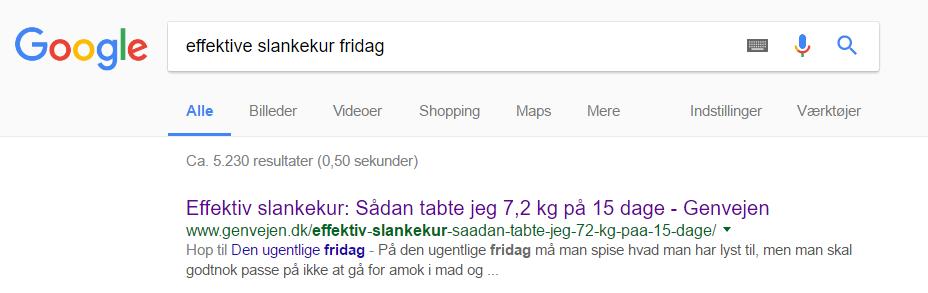 Google resultat ny beskrivelse