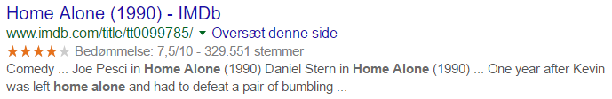 Google resultat review stjerner